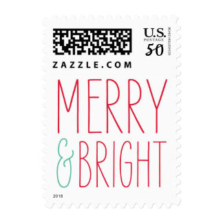Merry & Bright Holiday postage