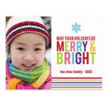 Merry & Bright Holiday Stripes Christmas Postcard
