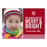 Merry & Bright Holiday Stripes Folded Christmas Ca Greeting Card