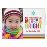 Merry & Bright Holiday Stripes Folded Christmas Greeting Card