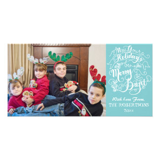 Merry Bright Holidays Aqua Modern Photo Christmas Card