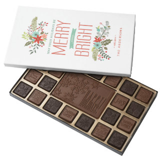 Merry & Bright Modern Floral Christmas Chocolates 45 Piece Box Of Chocolates