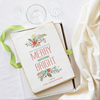 Merry & Bright Modern Floral Holiday Jumbo Cookie