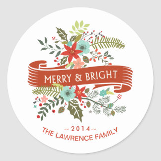 Merry & Bright Modern Floral Holiday Stickers