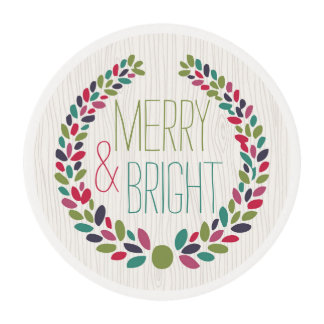 Merry & Bright Modern Woodland Holiday Edible Frosting Rounds