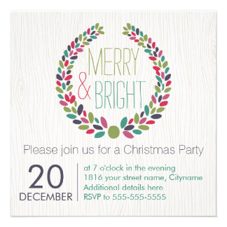 Merry & Bright Modern Woodland Holiday Invitation Card