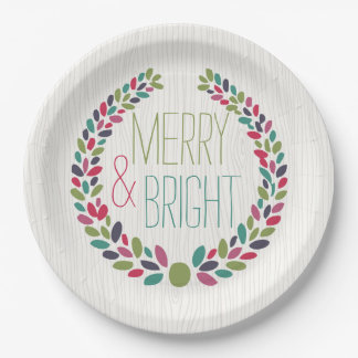 Merry & Bright Modern Woodland Holiday Paper Plate