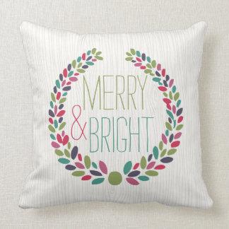 Modern Christmas Pillow : Merry And Bright Pillows - Decorative & Throw Pillows Zazzle
