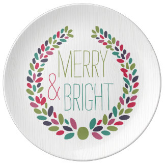 Merry & Bright Modern Woodland Holiday Plate