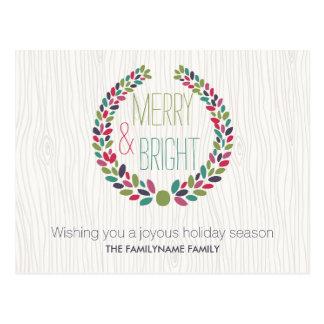 Merry & Bright Modern Woodland Holiday Postcard