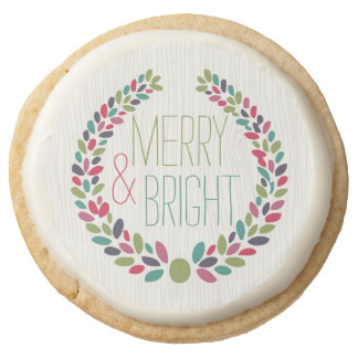 Merry & Bright Modern Woodland Holiday Round Shortbread Cookie