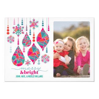 Merry & Bright Ornaments 5x7 Paper Invitation Card