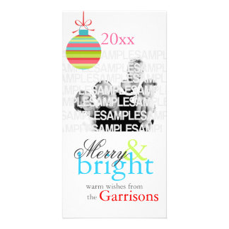 """Merry & Bright"" Personalized Christmas Card Picture Card"