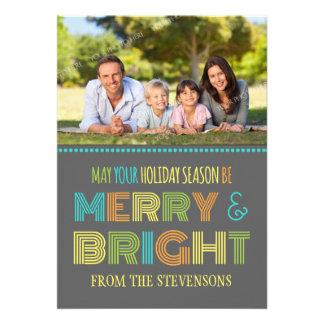 Merry Bright Photo Card Colorful Chevron