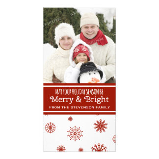 Merry & Bright Photo Card Red White Snowflakes
