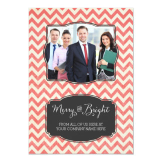 Merry & Bright Photo Cards Business Red Chevron