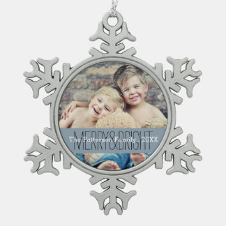 Merry & Bright Photo Christmas Family Ornament
