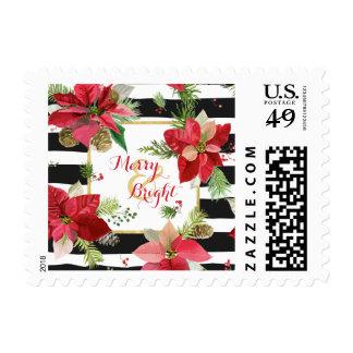 Merry & Bright Poinsettias on Black Stripe Postage