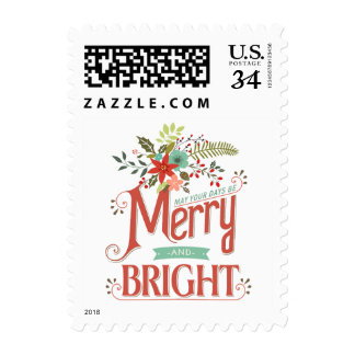 Merry & Bright Post Card Vintage Flowers Holiday Stamp