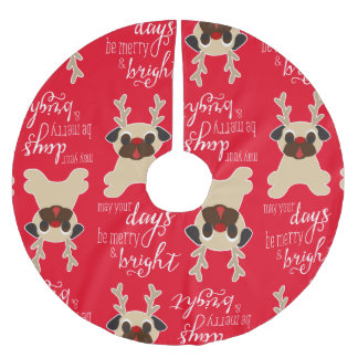 Merry & Bright Pug Reindeer Christmas Tree Skirt