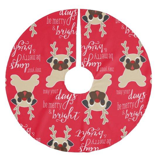 Merry Bright Pug Reindeer Christmas Tree Skirt Zazzlecom