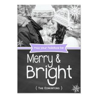 Merry Bright Purple Chalkboard Holiday Flat Card