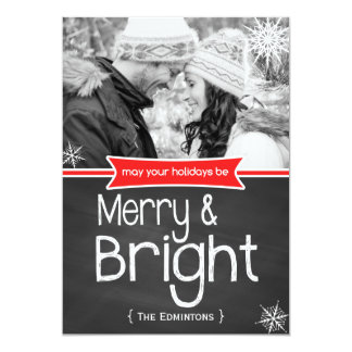 Merry Bright Red Chalkboard Holiday Flat Card