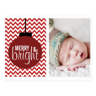 MERRY & BRIGHT RED CHEVRON HOLIDAY CARD POSTCARDS