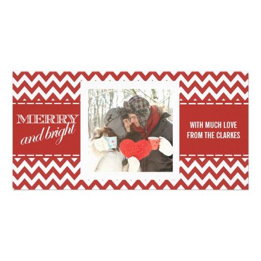 Merry & Bright  Red Chevron Photo Greeting Card