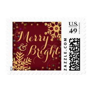 Merry & Bright Red Gold Holiday Snowflakes Postage