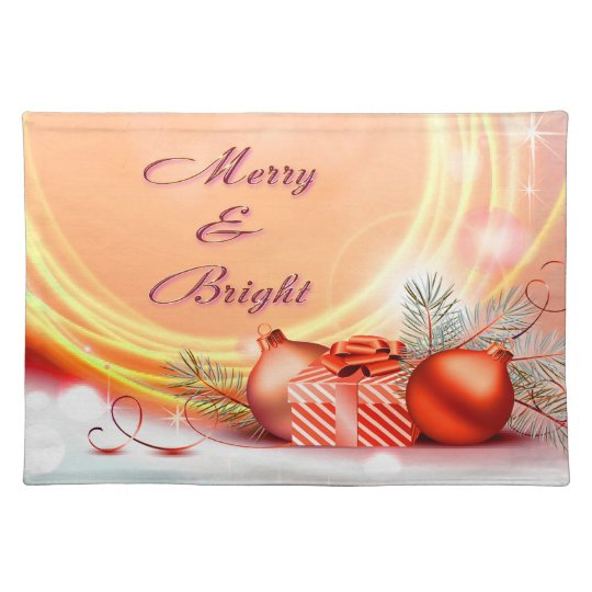 Merry & Bright Red Yellow Festive Christmas Cloth Placemat
