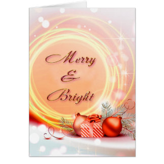 Merry & Bright Red Yellow Festive Christmas Greeting Card