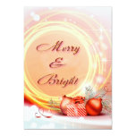 Merry & Bright Red Yellow Festive Christmas 5x7 Paper Invitation Card