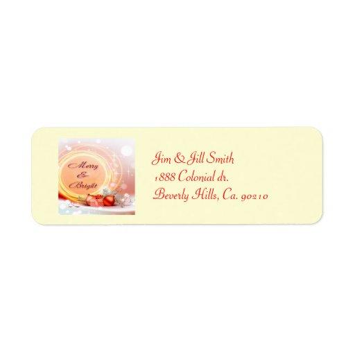 Merry & Bright Red Yellow Festive Christmas Return Address Label