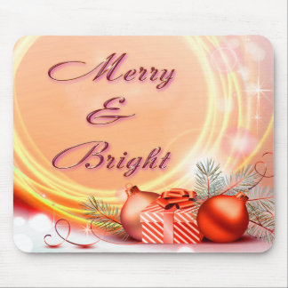 Merry & Bright Red Yellow Festive Christmas Mouse Pad