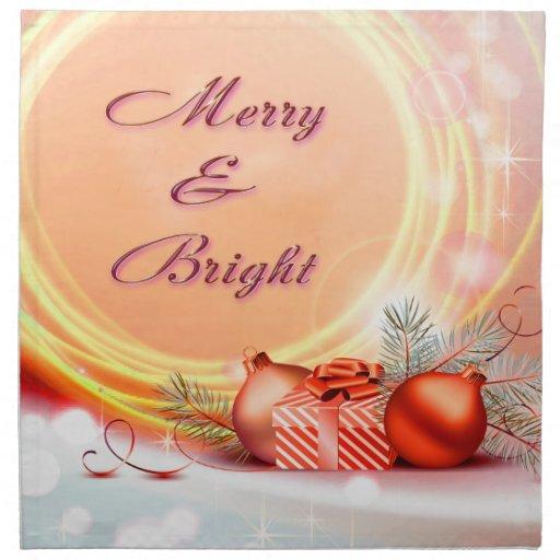 Merry & Bright Red Yellow Festive Christmas Napkin
