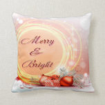Merry & Bright Red Yellow Festive Christmas Throw Pillow