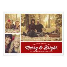 Merry & Bright Ruby 3 Photo Holiday Greeting Invitations