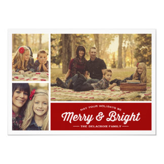 Merry & Bright Ruby 3 Photo Holiday Greeting 5x7 Paper Invitation Card