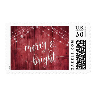 Merry & Bright Rustic Red Wood with White Lights Postage