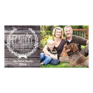 Merry & Bright Rustic Wood Card