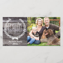 Merry & Bright Rustic Wood Holiday Card