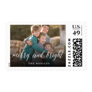 Merry & Bright Simple Script Holiday Photo Stamps
