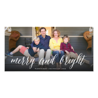 Merry & Bright Simple Script Photo Holiday Card Photo Card