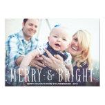 "MERRY & BRIGHT SNOWFALL | HOLIDAY PHOTO CARD 5"" X 7"" INVITATION CARD"