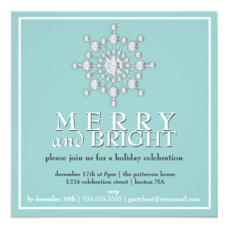 Merry & Bright Sparkle Snowflake Holiday Party 5.25x5.25 Square Paper Invitation Card