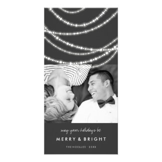 Merry & Bright Sparkles Chic Holiday Photo Card