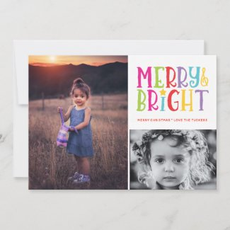 Merry & Bright Stripes 2-Photo Christmas Holiday Card