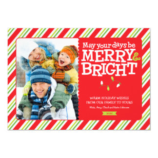 Merry & Bright Stripes Holiday Photo Card Groupon