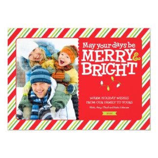 "Merry & Bright Stripes Holiday Photo Card Groupon 5"" X 7"" Invitation Card"